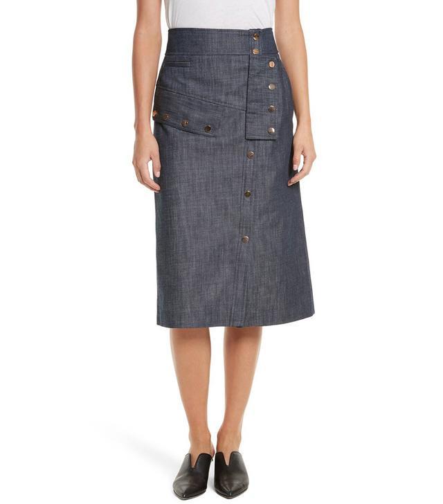 Snap Front Raw Denim Skirt