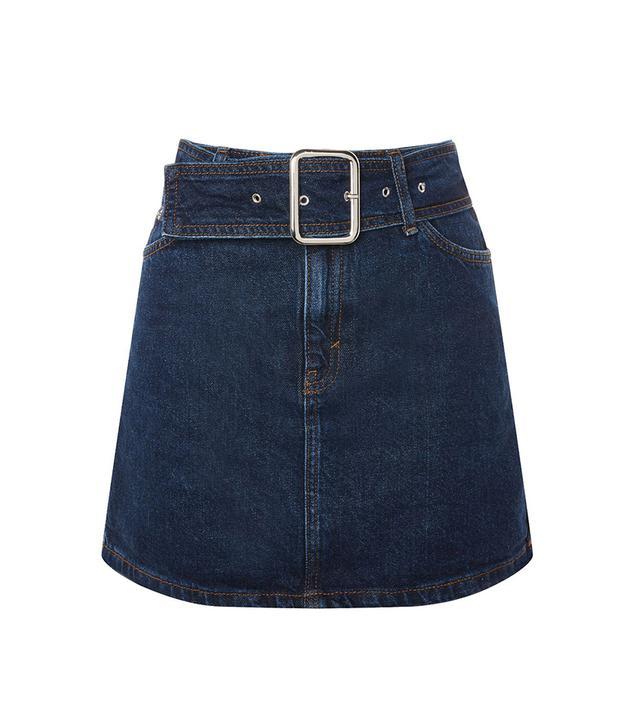 MOTO Buckle Denim Mini Skirt