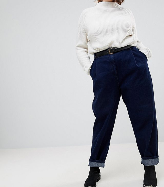 ASOS CURVE Tapered Jeans with Curved Seams and Belt in indigo Wash