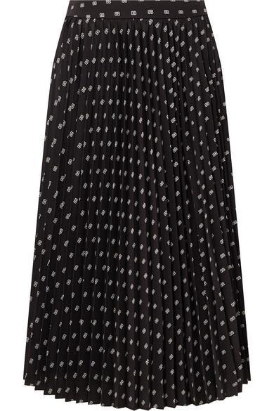 Sunray Pleated Printed Satin Skirt
