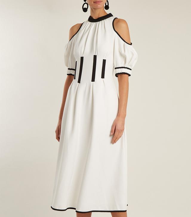 Calista open-shoulder corset-effect cady dress