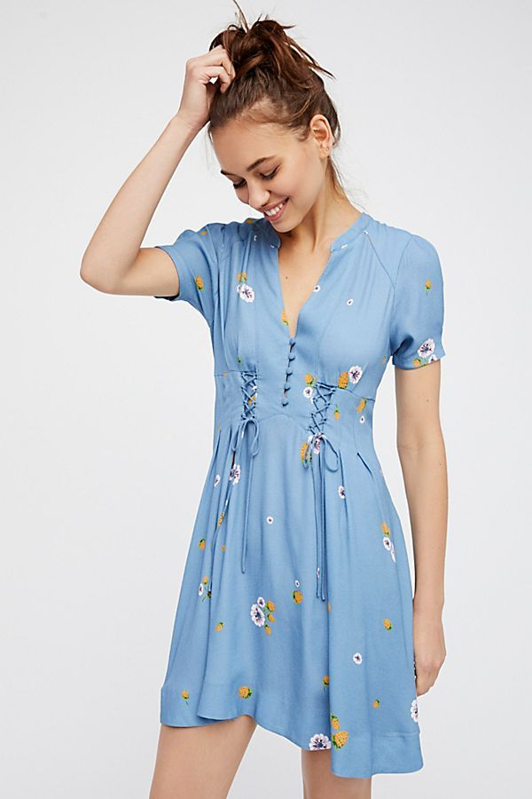 Free People Dream Girl Mini Dress in Chambray Combo