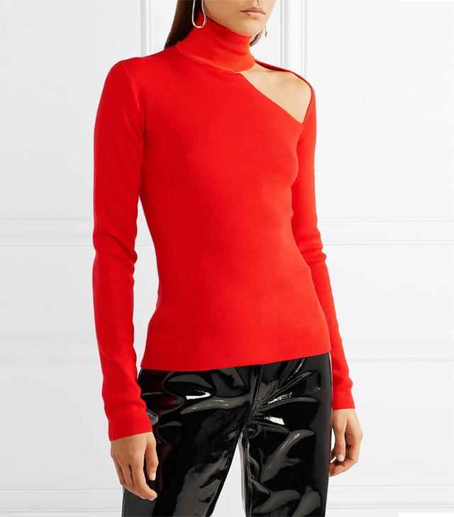 Cutout Merino Wool-Blend Turtleneck Sweater