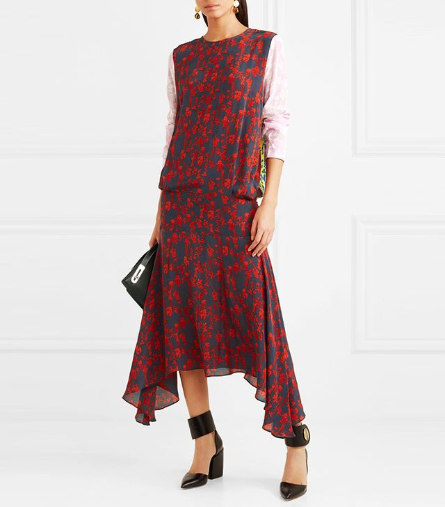 Eimear Paneled Printed Crepe Midi Dress