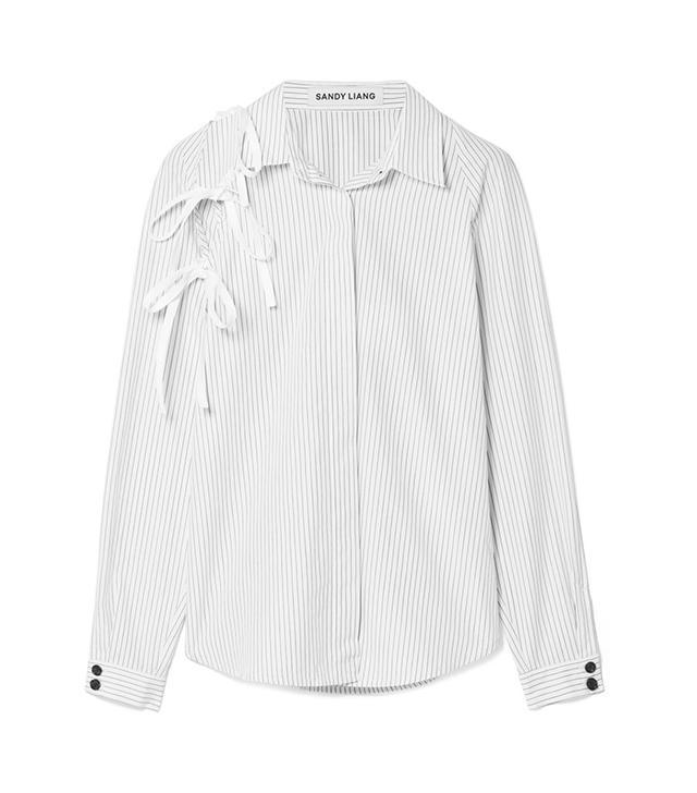 Lena Tie-Detailed Pinstriped Cotton-Poplin Shirt