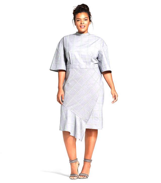 Plus Size Ruffle Hem Checker Dress