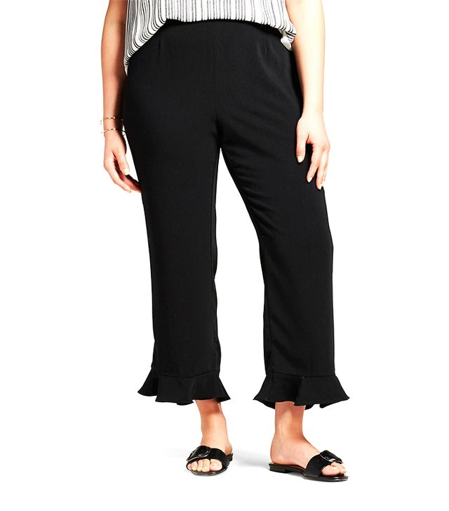 Who What Wear Wide Leg Ruffle Hem Crop Pants