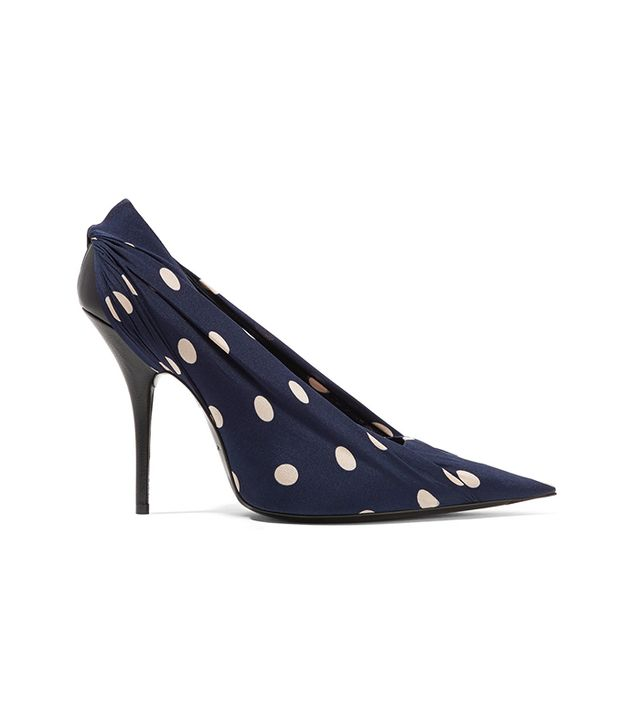 Knife Polka-Dot Satin-Twill And Leather Pumps