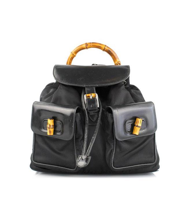 Gucci Black Nylon Bamboo Backpack