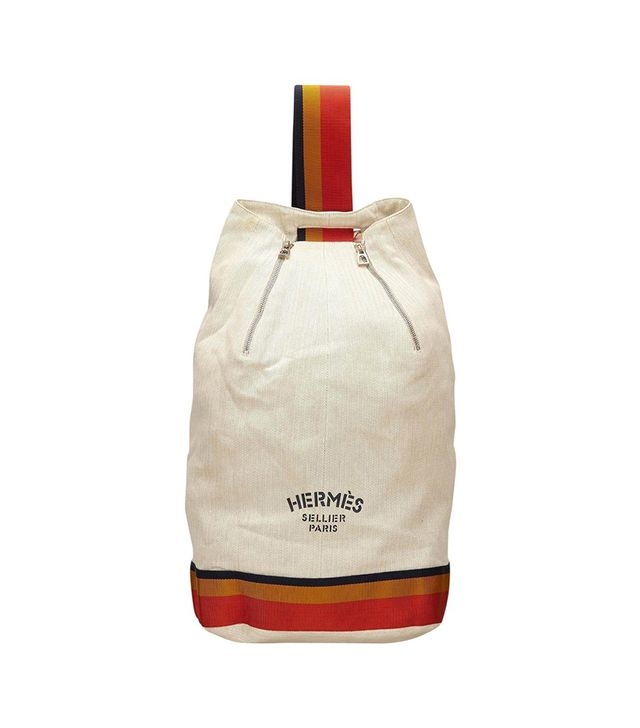 Hermes White Cotton X Fabric Backpack