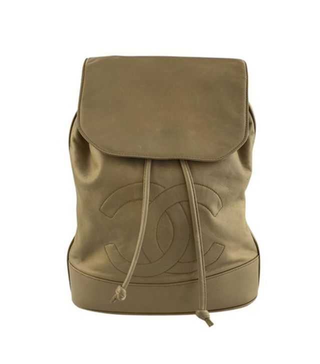 Chanel Tan Lambskin Leather Backpack