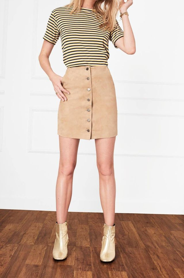 Anine Bing Button-Down Suede Skirt