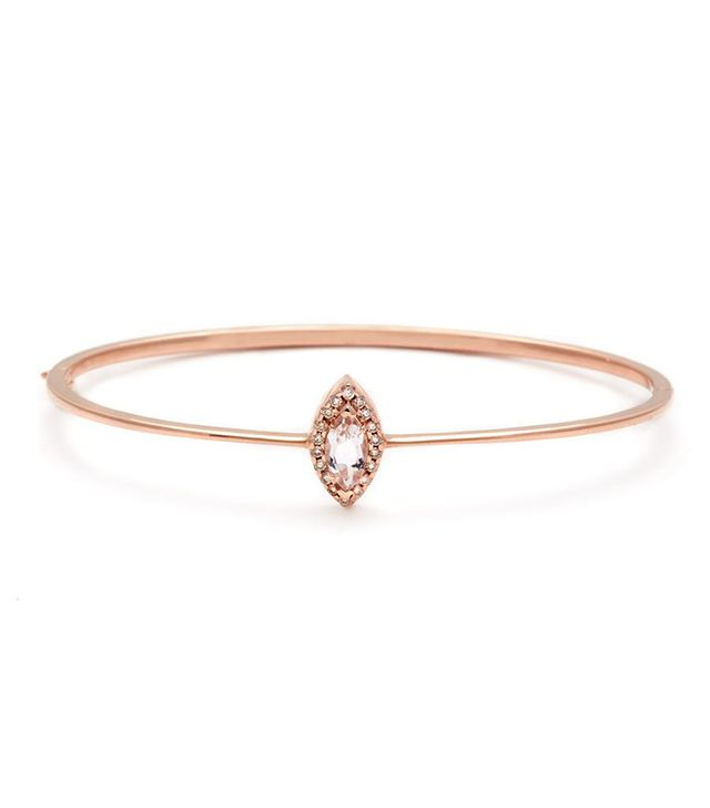 Anna Sheffield Delicate Marquise Bracelet Peach Morganite & Champagne Diamond