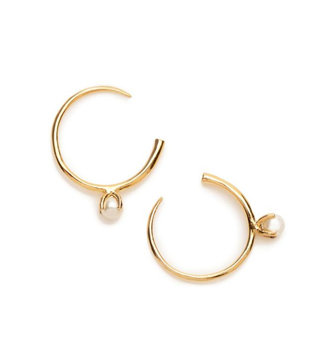 Bing Bang NYC Pearl Open Hoops