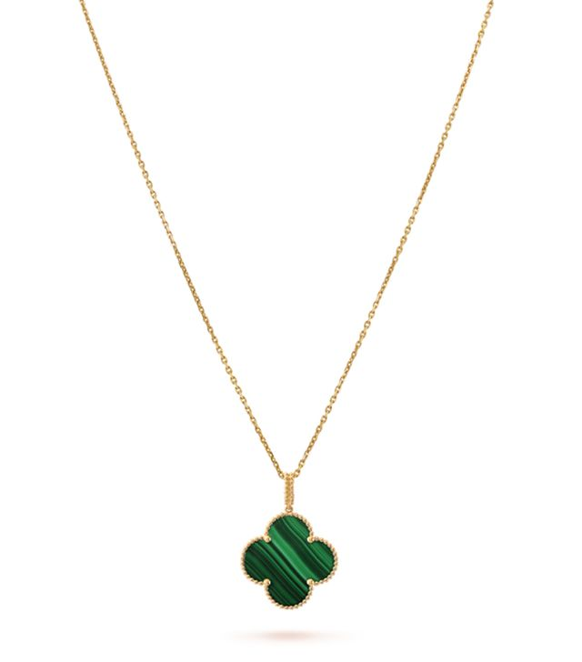 Van Cleef & Arpels Magic Alhambra Long Necklace in Yellow Gold and Malachite