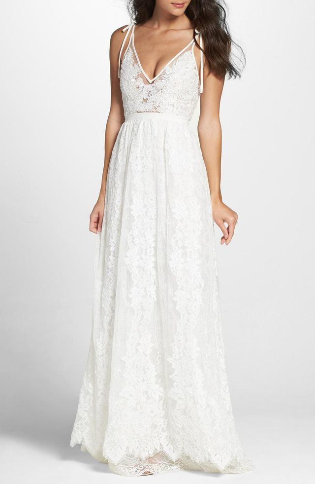 Charlie Tie Shoulder Lace Gown