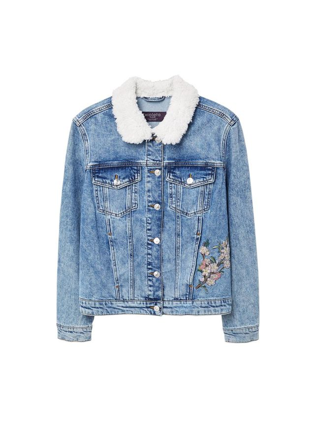 Embroidered faux-shearling denim jacket