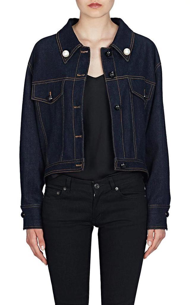 Women's Pearl Bow Denim Trucker Jacket
