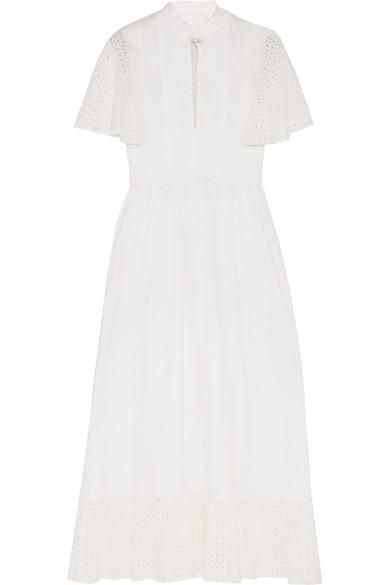 Cape-back Broderie Anglaise Cotton Midi Dress