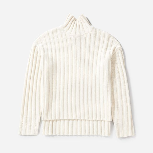 Women's Wool-Cashmere Rib Oversized Turtleneck Sweater by Everlane in White, Size XL