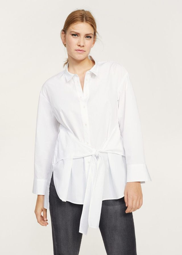 Cotton bow shirt