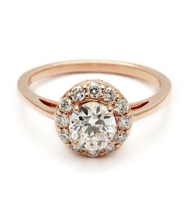 Anna Sheffield Round Grand Halo Rosette Ring Rose Gold & White Diamond