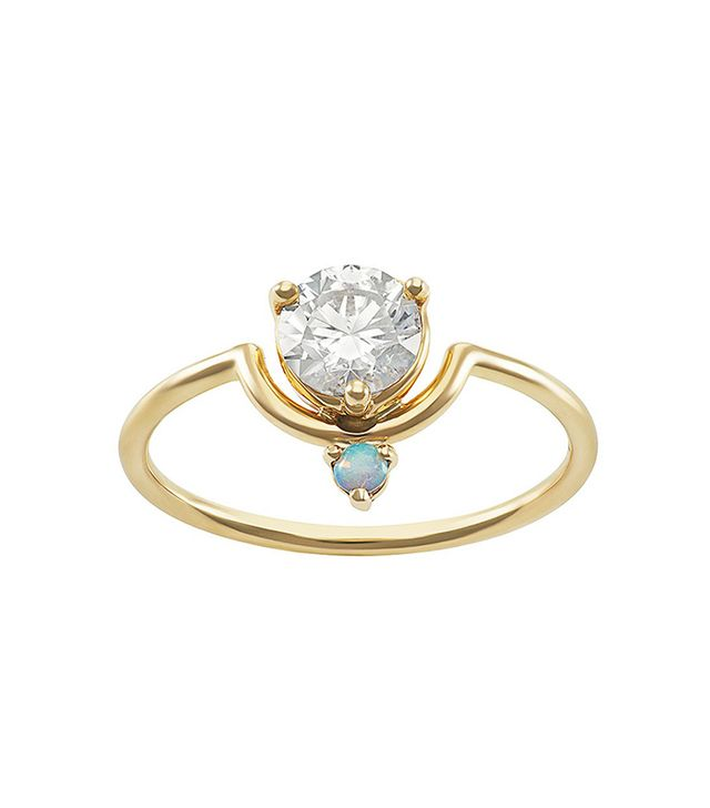 Wwake Large Nestled Diamond and Opal Ring