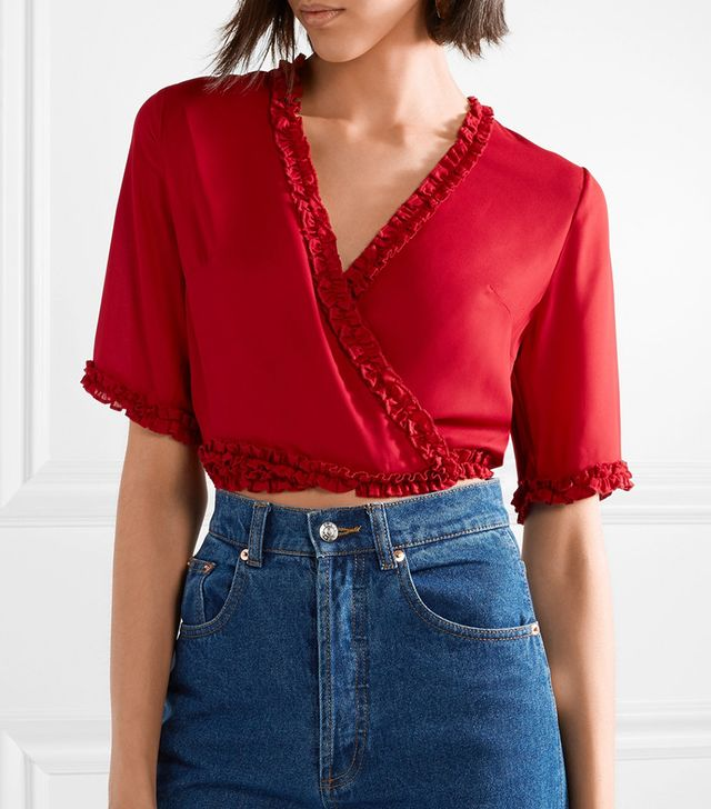 Lilia Cropped Ruffle-trimmed Crepe De Chine Wrap Top