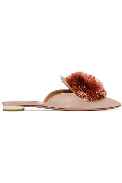 Powder Puff Pompom-embellished Satin Slippers