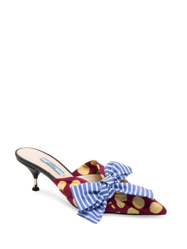 Polka-Dot Bow Mule Sandal