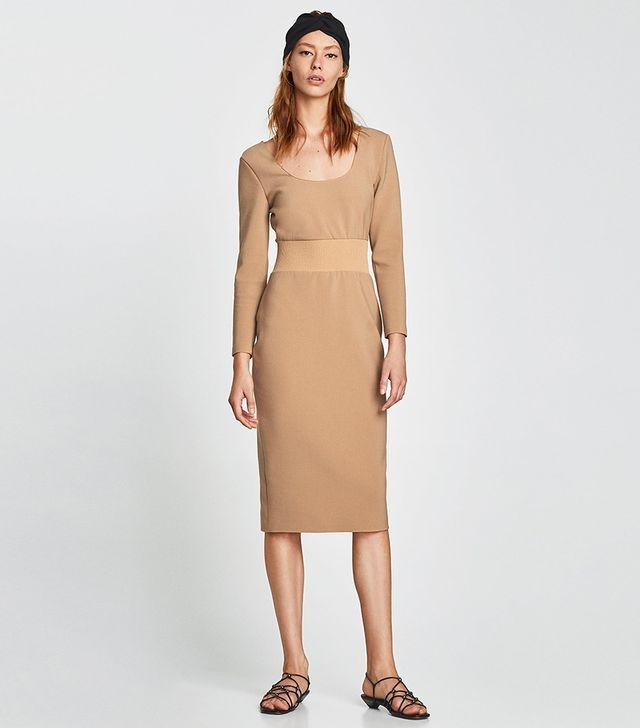 Zara Dress with Contrasting Ribbed Detail