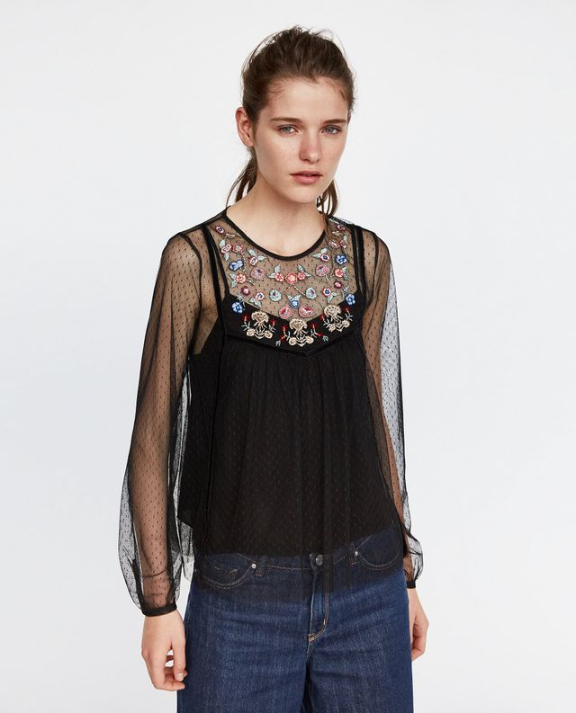 Zara Dotted Mesh Top With Floral Embroidery