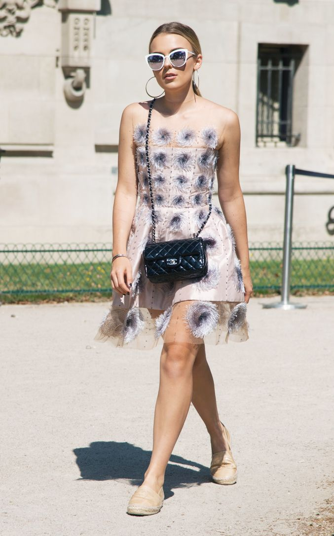 Chanel espadrilles: Tallia Storm in a Haute Couture Chanel Dress