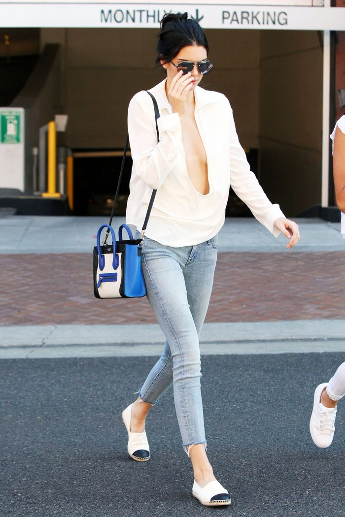 Chanel espadrilles: Kendall Jenner wearing Chanel espadrilles with skinny jeans