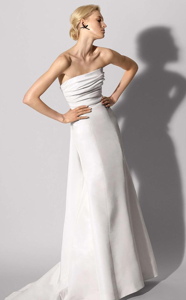 Florianne Strapless Silk Faille Trumpet Gown