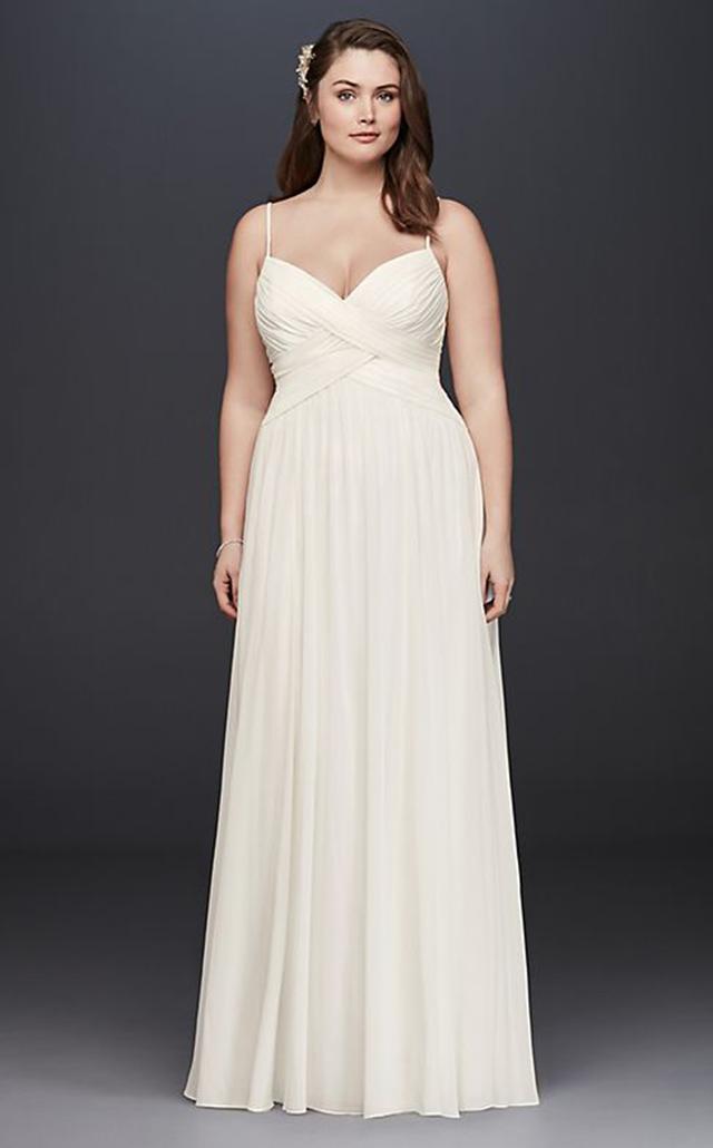 David's Bridal Ruched Bodice Chiffon Dress