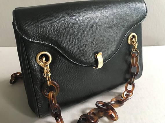 Morris Moskowitz Vintage Black Faux-Leather Purse
