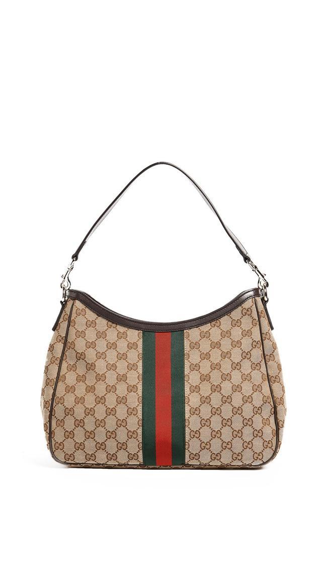 Gucci Coated Canvas Web Hobo Bag