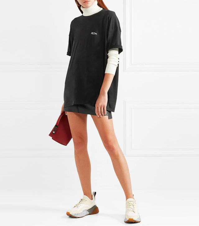 Oversized Printed Stretch Modal-blend T-shirt