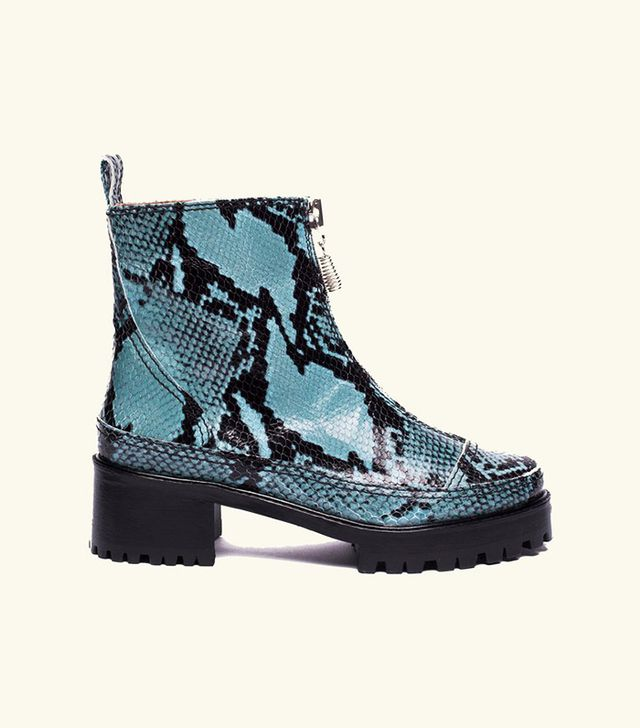 Nicole Saldana Chris Boot / Blue Embossed Snakeskin