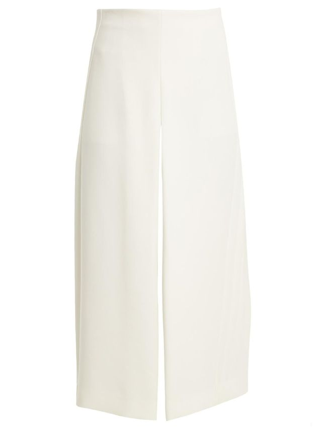 High-waisted crepe culottes