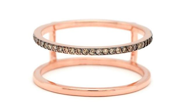 Anna Sheffield Attelage Harness Ring in Rose Gold & Champagne Diamonds
