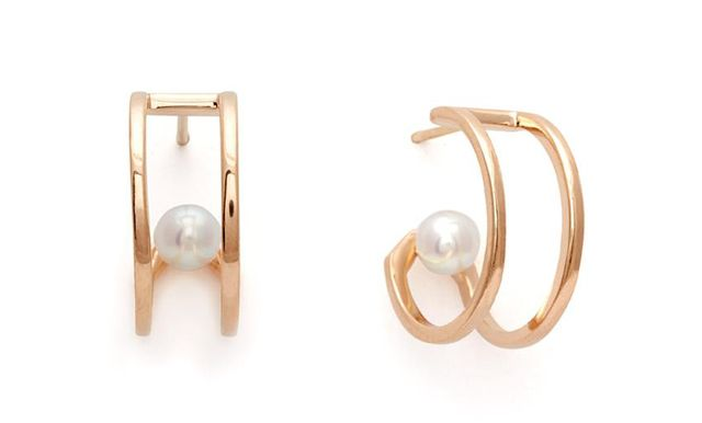 Anna Sheffield Attelage Hoops in Yellow Gold & Pearl