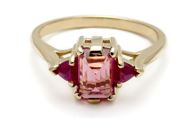 Anna Sheffield Bea Cocktail Ring in Pink Tourmaline & Ruby