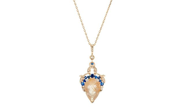 Anna Sheffield Celestine Pear Necklace in Yellow Gold, Golden Rutliated Quartz, Sapphires & Champagne Diamonds
