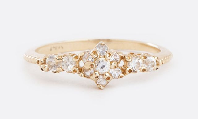 Ruta Reifen Floral Gold Ring with White Sapphires