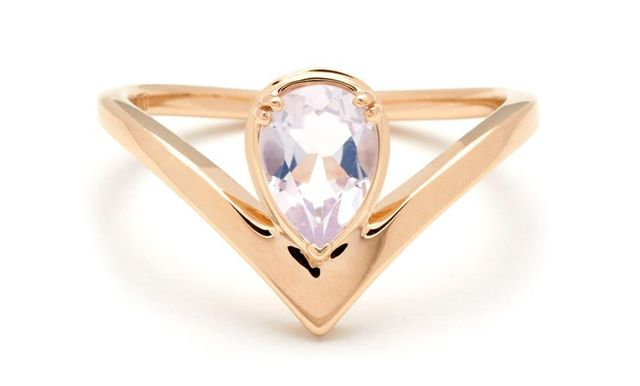 Anna Sheffield Celestine Orbit Ring in Yellow Gold & Lavender Moon Quartz
