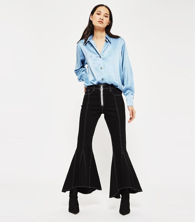 Moto Seam Crop Flared Jeans