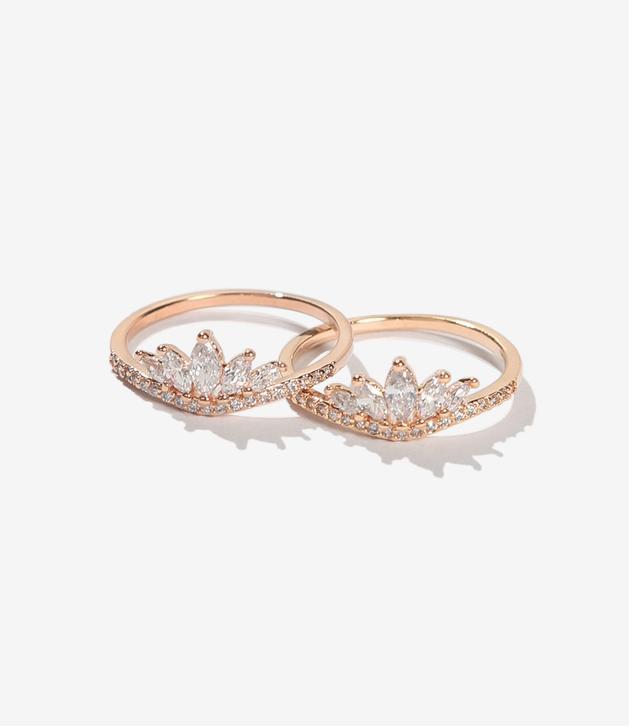 Adornmonde Drake Rose Gold Crystal Ring Set