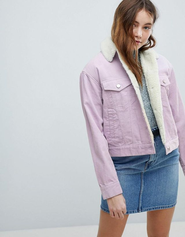 ASOS Cord Jacket With Fleece Collar in Lilac